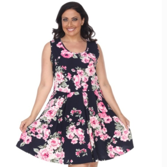 529fd3d3110 White Mark Dresses | New Plus Size Floral Print Dress Fitted Midi ...